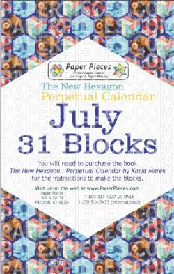 The New Hexagon Perpetual Calendar Paper Piece Pack Schablonen       July