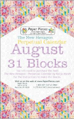 The New Hexagon Perpetual Calendar Paper Piece Pack Schablonen      August