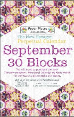 The New Hexagon Perpetual Calendar Paper Piece Pack Schablonen      September