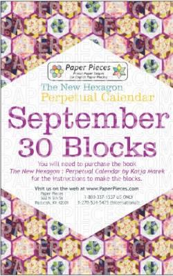 The New Hexagon Perpetual Calendar Paper Piece Pack Schablonen     September