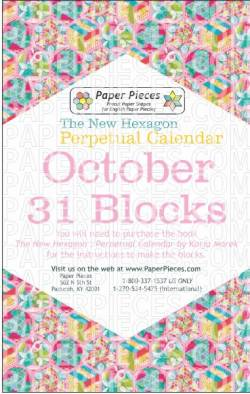 The New Hexagon Perpetual Calendar Paper Piece Pack Schablonen     October