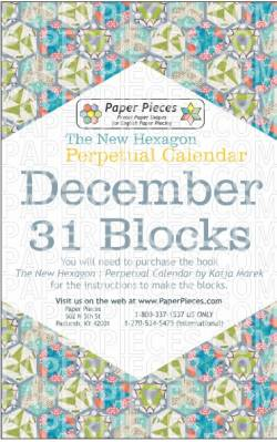 The New Hexagon Perpetual Calendar Paper Piece Pack Schablonen   December