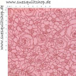 Penny Rose Fabric English Rose Rosen dunkelrosa auf rosa