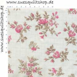 Penny Rose Fabric English Rose klein zarte Rosensträusse rosa auf creme