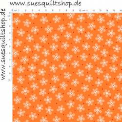 Benartex Front Porch Orange Mini Floral Blumen orange auf orange