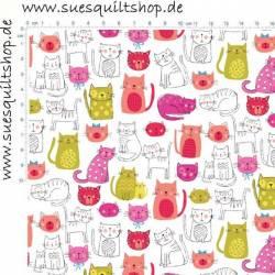 Makower Kitty Katzen pink grün auf weiss