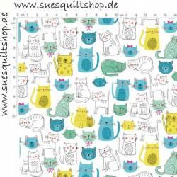 Makower Kitty Katzen blau grün gelb auf weiss >>> nur noch Fat Quarter <<<