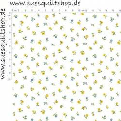 Makower Bloom Floral Scatter Streublümchen blau gelb grün auf weiss