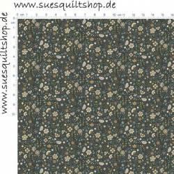 Makower Bloom Steel Floral Scroll Blümchen klein blau ocker petrol auf stahlgrau