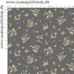 Makower Bloom Bouquet Steel Blumensträuße blaugrau ocker auf stahlgrau