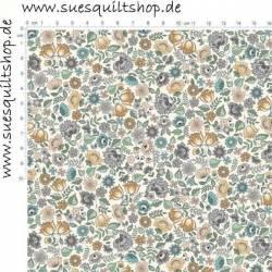 REDUZIERT: Makower Bloom Blue Chintz Blümchen groß stahlblau ocker auf hell >>> Mindestbestellmenge 1 Meter <<<