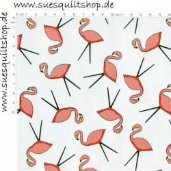 Wilmington Flamingo Toss Flamingos auf weiss >>> Mindestbestellmenge 1 Meter <<<