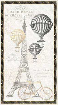 Wilmington Ivory Large Panel Eiffelturm, Heissluftballon, Fahrrad, Eiffelturm schwarz elfenbein natur