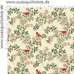 Makower Silent Night Vögel, Stechpalmenblätter, Ranken rot grün gold auf natur >>> Mindestbestellmenge 1 Meter <<<