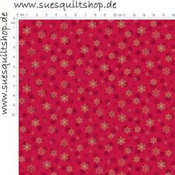 Makower Silent Night Schneeflocken rot gold >>> nur Fat Quarter <<<