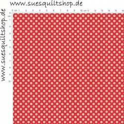 Makower Scandi Christmas Schneeflocken creme auf rot