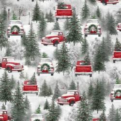 Henry Glass Multi Trucks Autos rot Bäume im Schnee
