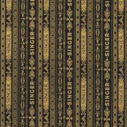 Robert Kaufman Sewing With Singer Schriftzug SINGER gold auf schwarz