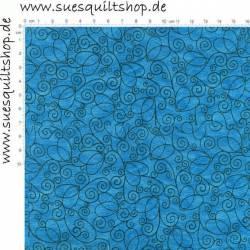 Blank Textiles Schnörkel schwarz auf blau