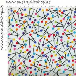 Benartex Sew Easy Stecknadeln multicolor auf weiss
