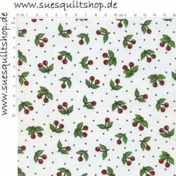 VIP Very Very Cherry Kirschen rot grün auf weiss >>> Mindestbestellmenge Reststück 1,71  m <<<