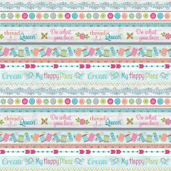 Benartex My Happy Place Sprüche multicolor >>> Fat Quarter <<<