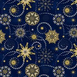 Stof Starlight Sterne gold auf blau