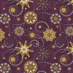 Stof Starlight Sterne gold auf dunkelblauschwarz