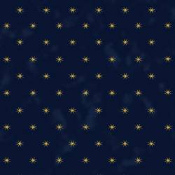 Stof Starlight kleine Sterne gold auf dunkelblau
