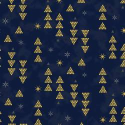 Stof Starlight Tannenbäume gold auf blau >>> Mindestbestellmenge 1 Meter <<<