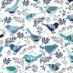 Michael Miller Blue Happy Birds Vögel blau