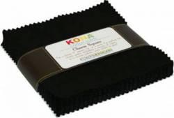 Kona Solids Black 5 inch Squares 42 stk.