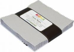 Kona Solids Ash 5 inch Squares 42 stk.