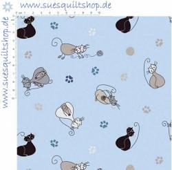 Stof ABCDaires Katzen auf hellblau