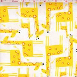 Timeless Treasures Giraffes Giraffen gelb auf weiss