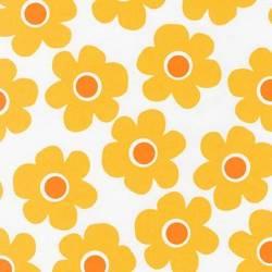 Robert Kaufman Coordinated Cornsilk große Blumen gelb orange auf weiss Rückseitenstoff überbreit