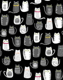 Stof Cat Fish Katzen auf schwarz