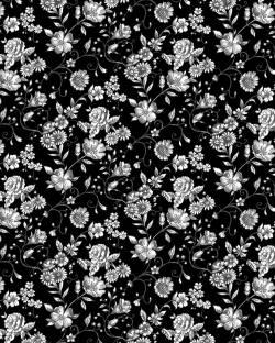 Stof Woodland Forest Blumen weiss auf schwarz