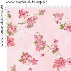 Hoffman Blush Gold Floral metallic Blumen dunkelrosa auf rosa