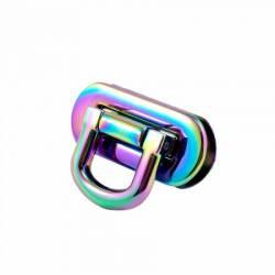 Emmaline Oval Flip Lock Iridiscent Rainbow