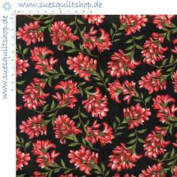 Benartex Wildflower Meadow Blumen rot auf schwarz >>> Mini-Ballen 2,05 m <<<