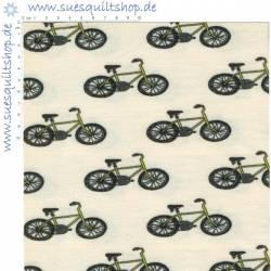 Stof JERSEY Bicycles auf beige