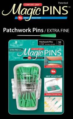 Magic Pins Patchwork EXTRA Fine Pins 50 stk Stecknadeln hitzebeständig mit GRIP GRÜN