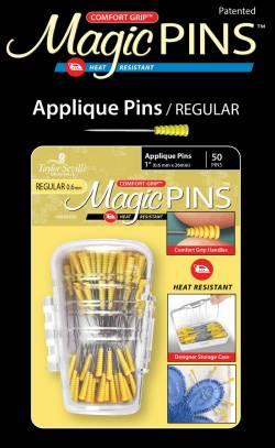 Magic Pins Applique Regular Pins 50 stk Stecknadeln hitzebeständig mit GRIP GELB