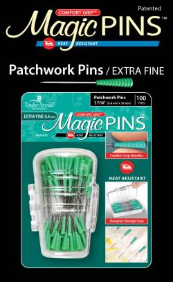 Magic Pins Patchwork EXTRA Fine Pins 100 stk Stecknadeln hitzebeständig mit GRIP GRÜN