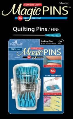 Magic Pins Fine Pins 100 stk Stecknadeln hitzebeständig mit GRIP BLAU