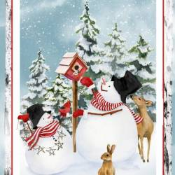 Henry Glass Snowman Panel Rapport ca. 60 cm