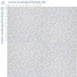 General Fabrics White on Muslin Scroll Schnörkel weiss auf natur