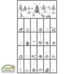 Stof Christmas Wonders Adventskalender weiss grau, Rapport 60 cm