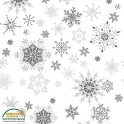 Stof Christmas Wonders Schneeflocken weiss grau